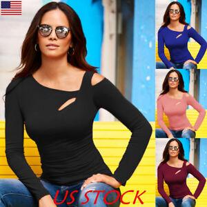 US-Women-Cut-Cold-Shoulder-Long-Sleeve-Tops-Ladies-Slim-Casual-Blouse-T-Shirt