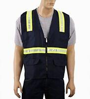 Safety Depot Two Tone Navy Blue Reflective Surveyor Safety Vest With Zipper And