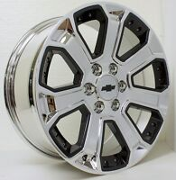 20 Chevy Chrome With Black Inserts Wheels Rims Silverado Z71 Sensors Lugs