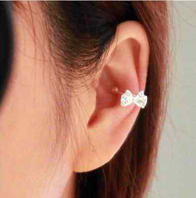lovely 1pc Korea Vogue Bowknot Bow Rhinestone Crystal Lady Ear Bone Clip Earring