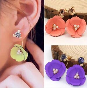 1 Pair Crystal Rhinestone Earrings Women Flower Hot Elegant Ear Stud Lady
