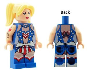 Custom Minifigure Female American USA Flag Dress Costume Printed on LEGO Parts