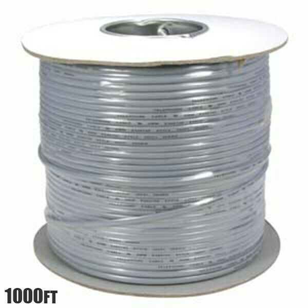 1000 Ft 8 Conductor Flat Modular Telephone Cable Silver Satin 28 AWG Stranded Copper Flat Modular Cable Cord Gray Wire Phone