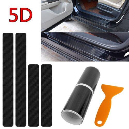 4pcs Carbon Fiber Car Scuff Plate Door Sill 5D Sticker Panel Protector D