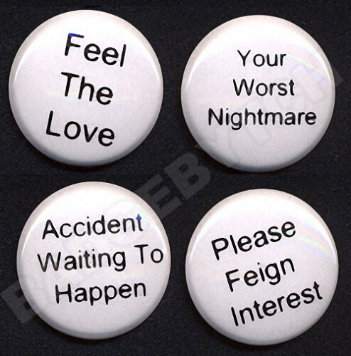 BASIC MESSAGE Badges FOUR Button Pins set EMO,GOTH,PUNK