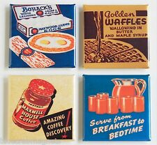 Breakfast FRIDGE MAGNET Set (1.5 x 1.5 inches) orange juice bacon eggs waffles