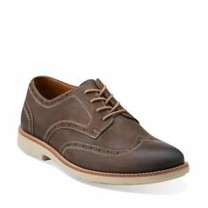 aa5fa560 Details about Clarks Raspin Brogue Men's Oxford Taupe Suede Wing Tip Casual  Shoes 26103192