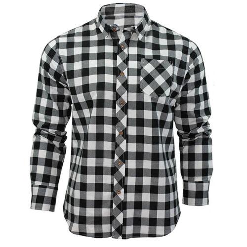 HOT Men/'S Long Sleeve Casual Shirts Check Print Cotton Flannel Plaid Shirt Tops