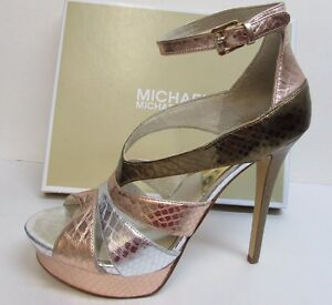 Michael-Kors-Size-10-Gold-Leather-Heels-New-Womens-Shoes