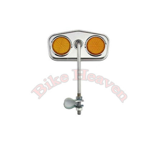 Gold Twisted Oblong Bicycle Mirror /& Orange Reflectors NEW! Lowrider Mirror