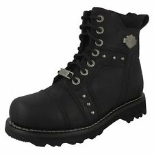 28aa45117e7d HARLEY DAVIDSON LADIES LACE ZIP UP BLACK LEATHER BIKER ANKLE BOOTS OAKLEIGH