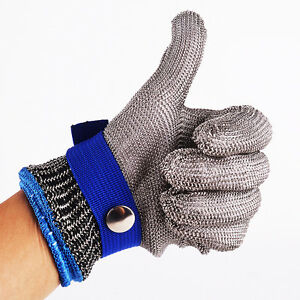 Size-M-Safety-Glove-Cut-Proof-Stab-Resistant-Stainless-Steel-Metal-Mesh-Butcher