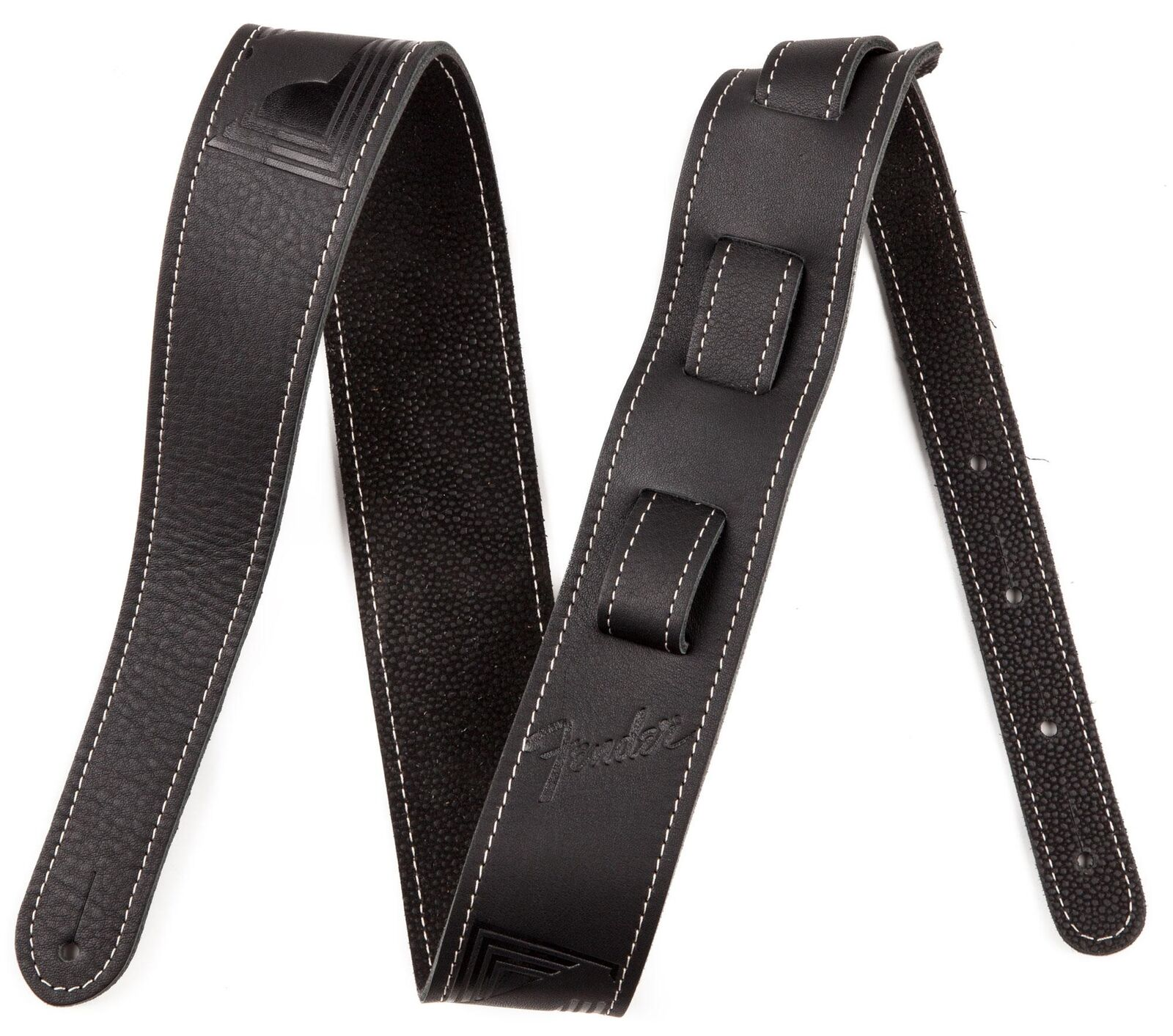 FENDER GUITAR STRAP MONOGRAM LEATHER BLK GITARREN  BASS GURT LEDER VERSTELLBAR