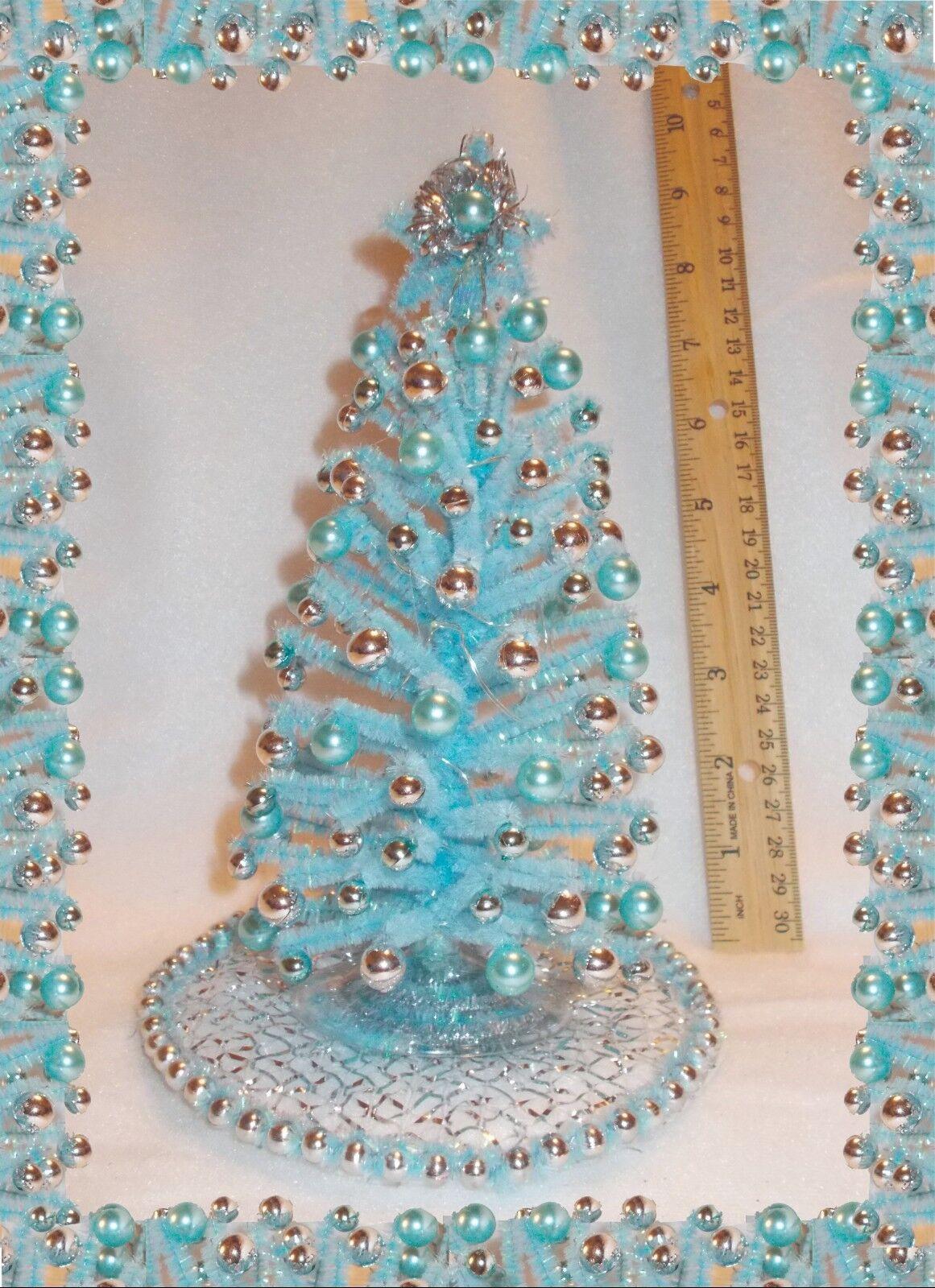 Nuevo Hermoso blu casa de muñecas en miniatura de ooak 8.5  Iluminado Árbol De Navidad Moderno