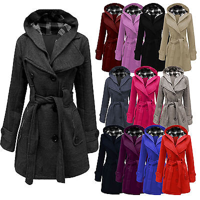 New Ladies Womens Lady Hooded Coat Jacket Top Belted Fleece Warm Winter Outwear