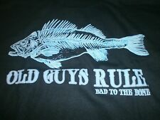 """OLD GUYS RULE """" BAD TO THE BONE """" FISH FISHING BASS S/S T-SHIRT SIZE XL"""