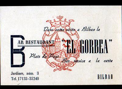 BILBAO ESPAGNE BAR RESTAURANT EL GORBEA Carte De Visite