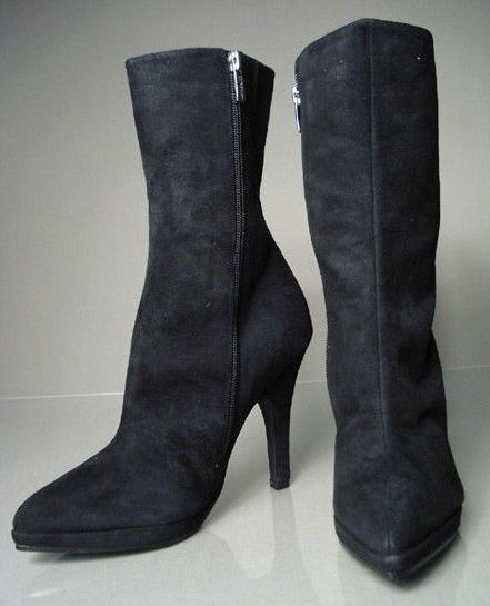 New COLIN STUART Women Side Zip Dress High Heel Pointy Toe Mid-Calf Boot Sz 8.5