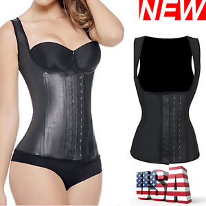 4cf69b3e4 Image is loading Women-Rubber-Latex-Waist-Trainer-Cincher-Corset-Vest-