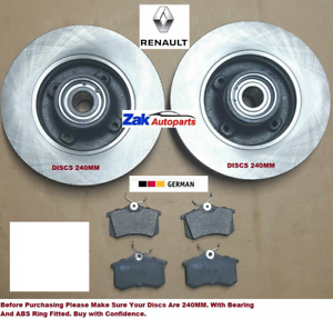 FOR-Renault-Megane-MK2-Rear-Brake-Discs-amp-Pads-Fitted-Wheel-Bearing-ABS-Rings