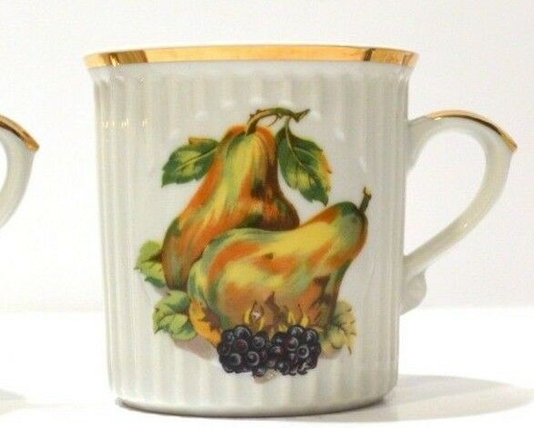 Set of 6 Vintage Fruit Motif Mugs Made in Japan with gold Trim - all different