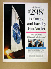 1960 Pan Am Jet Flights to Europe fares table tail fin photo vintage print Ad