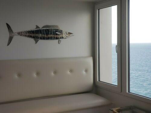 "Scombrid Sculpture 4ft // 48/"" wide USA Hand Made Metal Art HUGE WAHOO FISH"