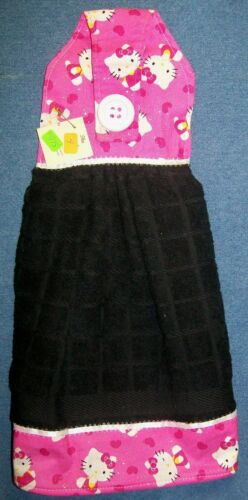*NEW* Handmade Hello Kitty Sparkle Hearts Hanging Kitchen Fridge Hand Towel #975