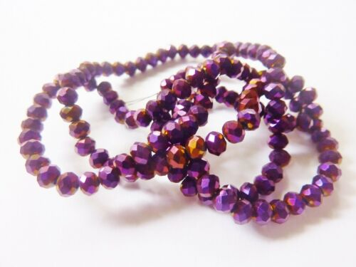 100 pce Tanzanite Metallic Purple Electroplate Faceted Abacus Glass Beads 4x3mm