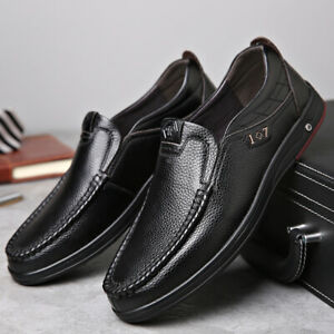 men cow leather formal dress slip on loafers soft sole