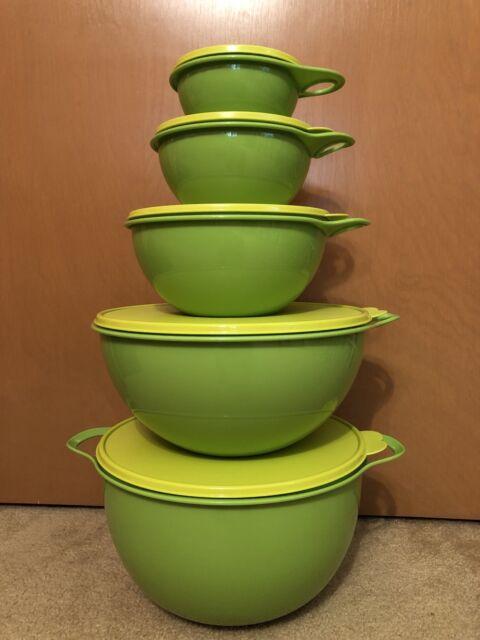 Tupperware Thatsa Bowl Set 2 1/2, 6, 12, 32, 42 Cup Lettuce Margarita Green