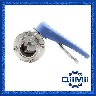 "1-4"" QM Stainless 304 Butterfly Valve Tri Clamp Multi Position Handle"