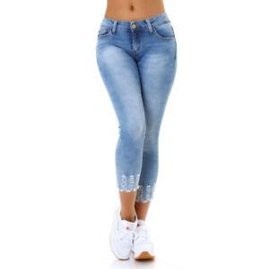 Jeans-Damen-Skinny-Jeans-7-8-Jeanshose-Used-Look