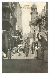 Antique-printed-postcard-Cairo-Native-Street-with-figures