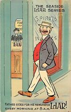 POSTCARD  COMIC   The  Seaside  Liar  Series  Father goes for his newspaper....