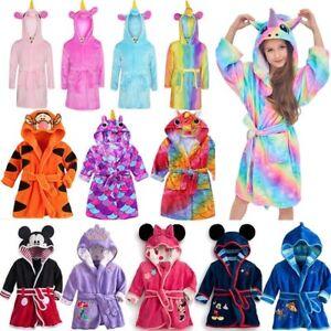 44631230e9fa0 Kids Boys Girls Unicorn Hooded Bath Robe Pajamas Nightwear Sleepwear ...