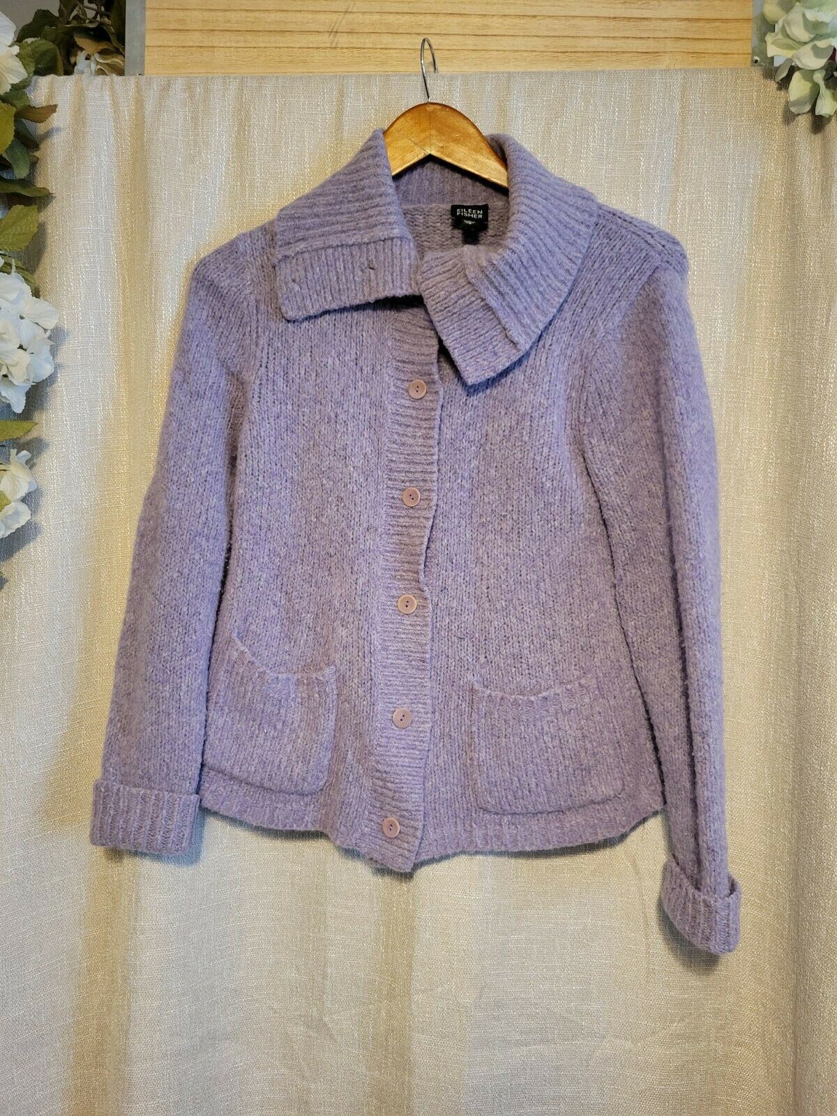 Eileen Fisher Lilac Purple Wool Cardigan Sweater … - image 1