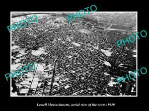 OLD-LARGE-HISTORIC-PHOTO-LOWELL-MASSACHUSETTS-AERIAL-VIEW-OF-THE-TOWN-c1940