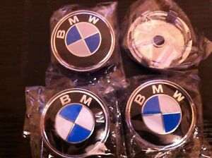 Next-Day-Delivery-BMW-ALLOY-WHEELS-BLUE-CENTER-CAPS-SET-4-Face-60mm-Clip-58mm