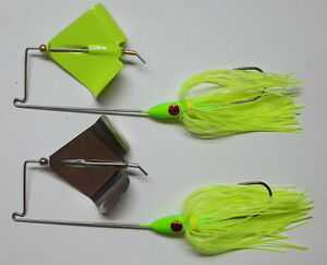 Details about (2) 3/8 Oz  Custom Topwater Buzzbait Lures-(Chartreuse)-Bass  Fishing-Bass-