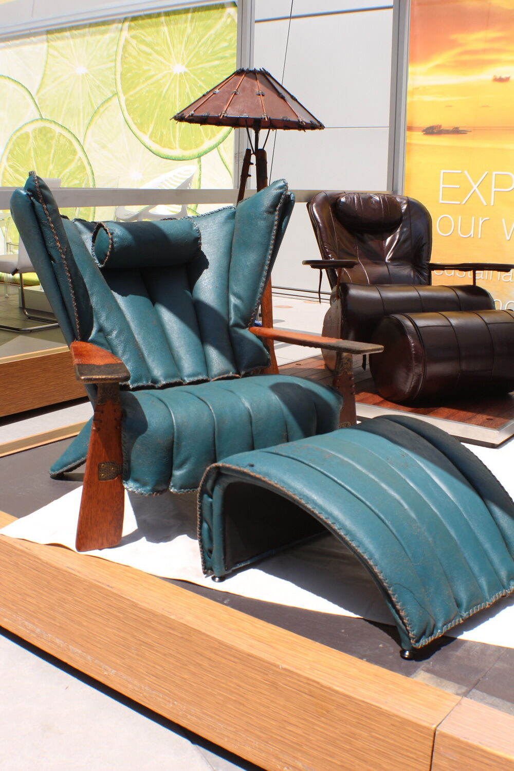 "41"" W Club Chair Blue Italian Leather Solid Exotic"