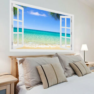 Huge 3D Window Exotic Beach View Wall Stickers Wall Mural Wall