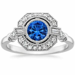 1-80-Cts-Blue-Sapphire-Diamond-Engagement-Anniversary-Ring-Solid-14k-White-Gold