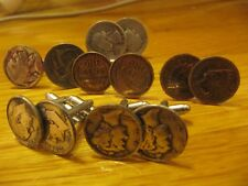 ORIGINAL WHOLESALE LOT OF COIN CUFFLINKS 6 PAIRS ALL MAJOR U.S. COINS+SILVER!