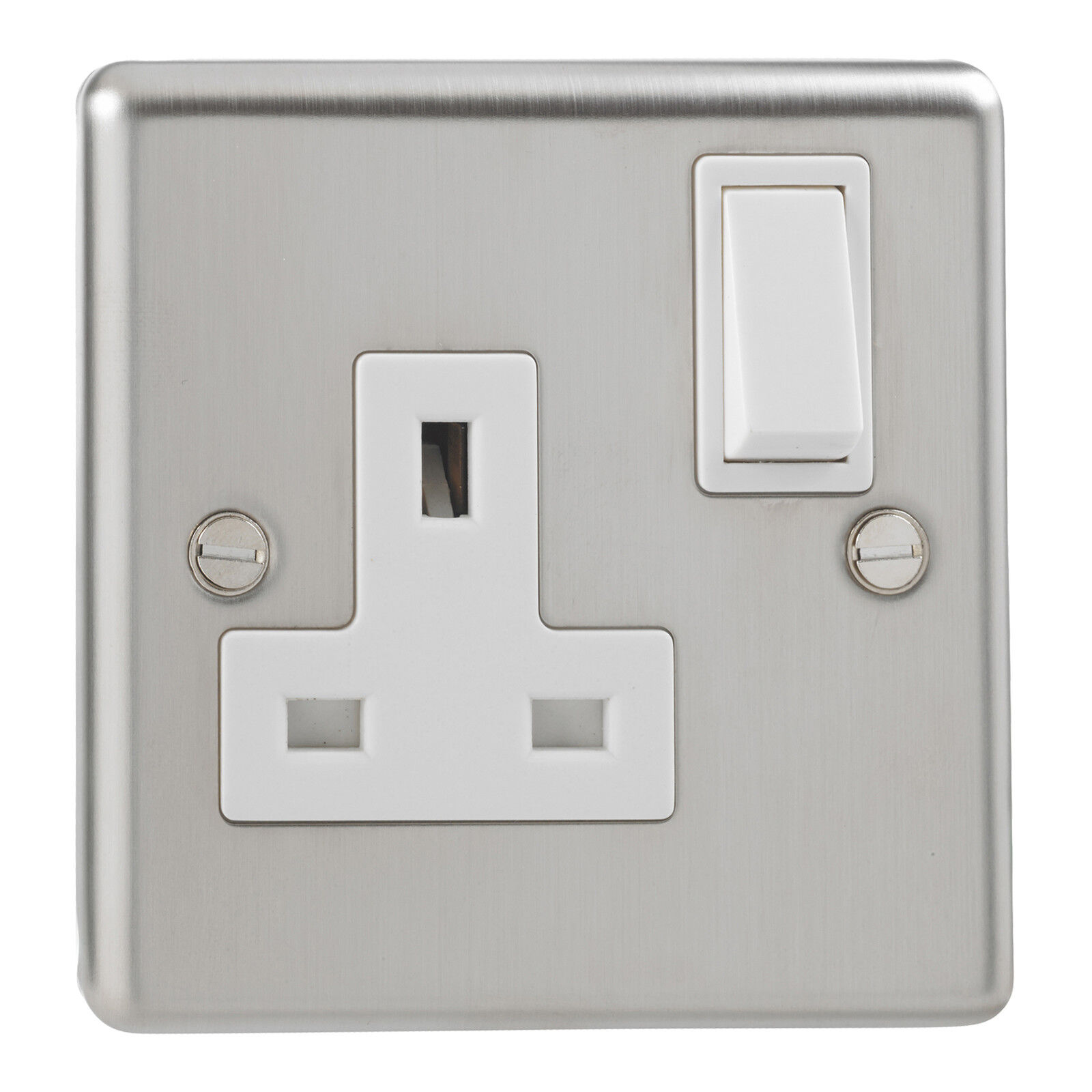 SST721 13A DP 1 Gang Switched Socket Stainless Finish White Inserts