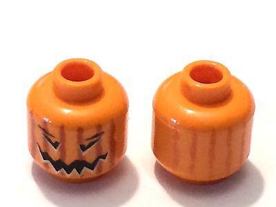 *NEW* 1 Piece Lego Minifig HEAD ORANGE Dual Sided Jack O Lantern
