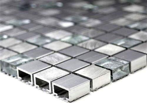 Mosaik Fliese Aluminium Glasmosaik mix silber Wand Boden  49-a309F/_b1 Matte