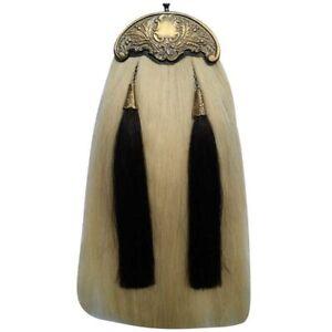 Hw Leder Original Felltasche Kleid Pferdehaar Weiß Schwarz Quasten Antik Internationale Trachten