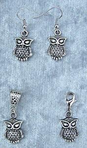 Eule Kettenanhänger Bettelarmband Anhänger Ohrhänger Owl Kette Armband *