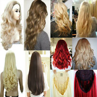 Real Thick Women Lady Fall Half Wig 3/4 Wig Clip In Hair Piece Salon Luxury Hg76